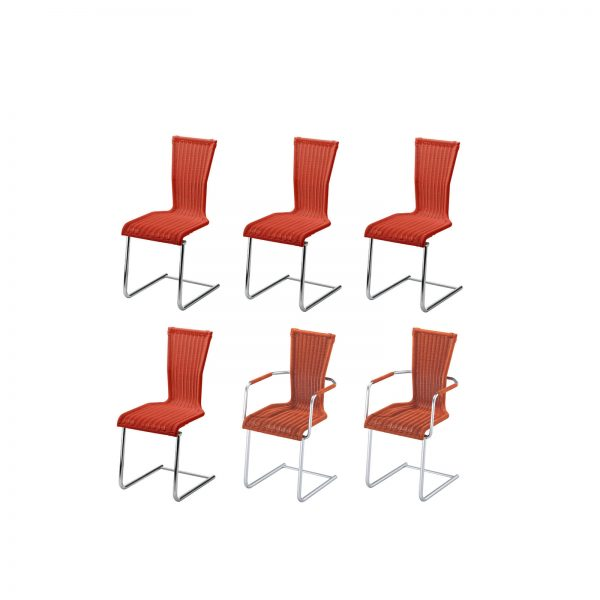 Rundrohr-Freischwinger-Stuhl mit Sitz und Rücken in hochwertigem Saleen-Geflecht